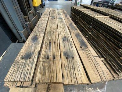 Spoorplanken eikenhouten gebruikte planken 23x260 mm