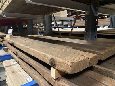 Hardhouten oude dragline schot tafelbladen 7 cm x 100 cm breedte, diverse lengtes.