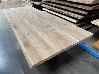 40 mm eiken tafelbladen 100 cm x 280 cm breed en zijkanten boomstam kant